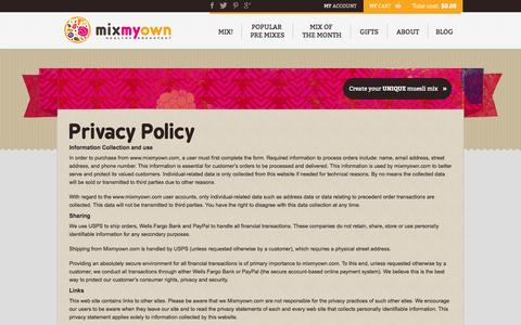 Screenshot of Privacy Page mixmyown.com - Privacy Policy - MixMyOwn.com - captured Oct. 26, 2014