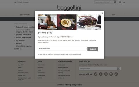 Screenshot of Support Page baggallini.com - Customer Service | baggallini - captured Sept. 10, 2016