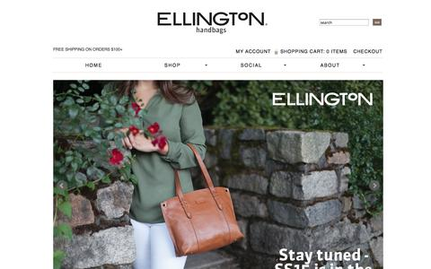 Screenshot of Home Page ellingtonhandbags.com - Women's Casual-Chic Handbags | Shop Ellington Handbags - captured Oct. 1, 2014
