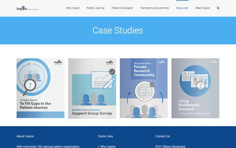 Screenshot of Case Studies Page inspire.com - Case Studies - Inspire's Research Offerings on Health Care - captured April 7, 2017