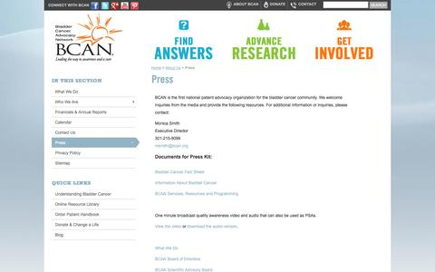 Screenshot of Press Page bcan.org - Press » Bladder Cancer Advocacy Network - BCAN - captured Oct. 5, 2014