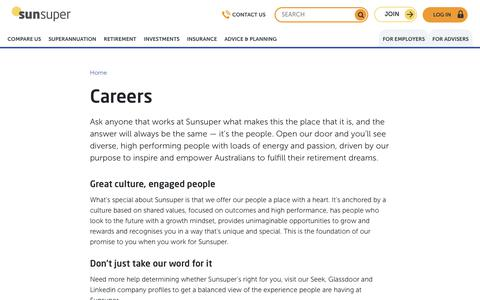 Screenshot of Jobs Page sunsuper.com.au - Careers | Sunsuper - captured Feb. 17, 2019