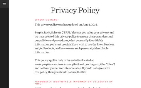 Screenshot of Privacy Page purplerockscissors.com - PRPL | Purple, Rock, Scissors: A Digital Creative Agency in Orlando - captured Feb. 27, 2016