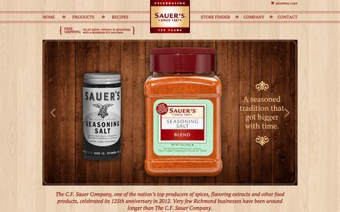 Screenshot of Home Page cfsauer.com - C.F. Sauer - captured Feb. 17, 2016