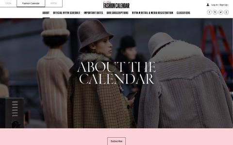Screenshot of About Page cfda.com - About the Calendar | Fashion Calendar | CFDA - captured Feb. 15, 2018