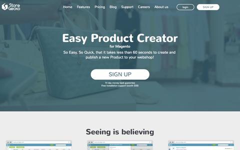 Screenshot of Home Page storegecko.com - StoreGecko | faster magento product data import - captured June 19, 2015