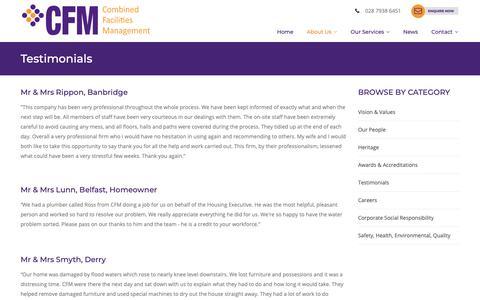 Screenshot of Testimonials Page cfm-ni.com - Combined Facilities Management Client Testimonials - captured Sept. 29, 2018