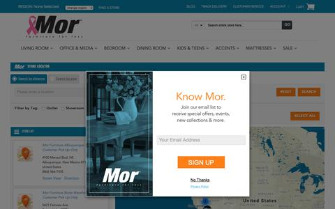 Screenshot of Locations Page morfurniture.com - Mor Furniture for Less Store Locator | Mor Furniture for Less - captured Oct. 18, 2018