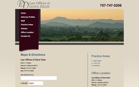 Screenshot of Maps & Directions Page danadean.com - Benicia Law Firm, Law Offices of Dana Dean | Maps & Directions - captured Oct. 30, 2016