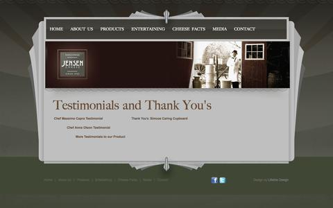 Screenshot of Testimonials Page jensencheese.ca - Testimonials and Thank You's - captured Oct. 4, 2014