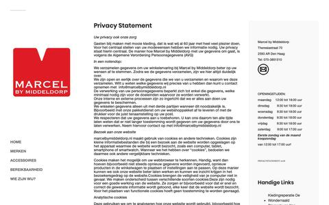 Screenshot of Privacy Page marcelbymiddeldorp.nl - Privacy Statement - Marcel By Middeldorp - captured Nov. 6, 2018