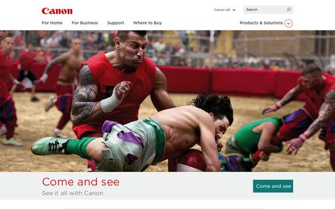 Screenshot of Home Page canon.co.uk - Home - Canon UK - captured Sept. 18, 2014