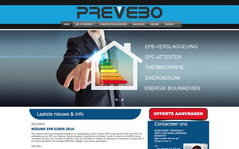 Screenshot of Home Page prevebo.be - PREVEBO VEURNE - captured Sept. 1, 2017