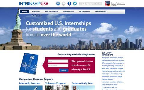 Screenshot of Home Page internship-usa.com - Internship USA - captured Oct. 6, 2014