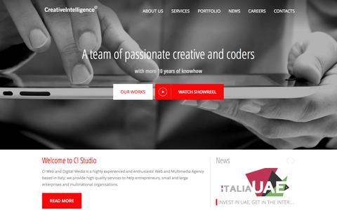 Screenshot of Home Page creativeintelligence.it - Creative Intelligence S.r.l. - captured Oct. 10, 2014