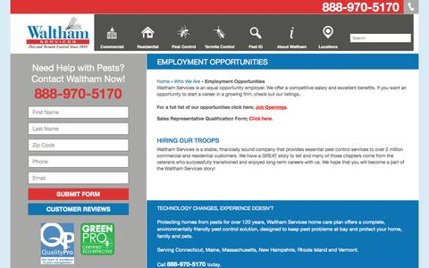 Screenshot of Jobs Page walthamservices.com - Waltham Services Jobs & Employment Opportunities - captured Aug. 3, 2015
