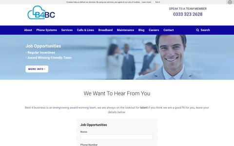 Screenshot of Jobs Page b4bc.co.uk - Employment - Telephone Systems - captured Oct. 5, 2018