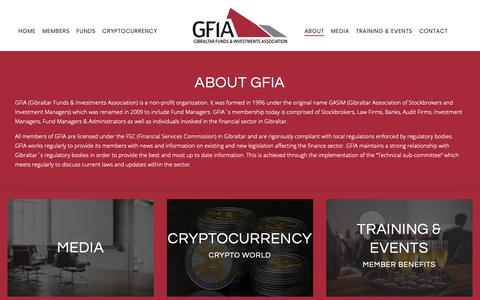 Screenshot of About Page gfia.gi - About - Gibraltar Funds & Investments Association - captured Sept. 28, 2018
