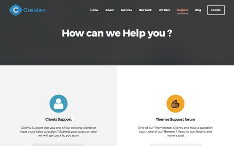 Screenshot of Support Page creiden.com - Support - Creiden - captured May 23, 2017