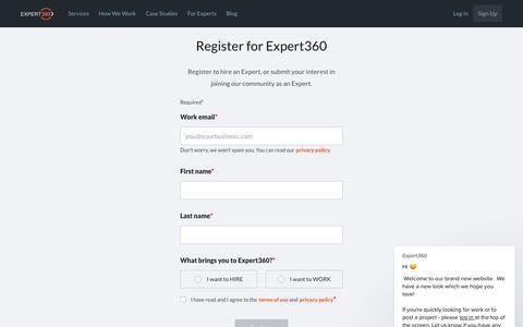 Screenshot of Signup Page expert360.com - Expert360 says… - captured Nov. 22, 2018