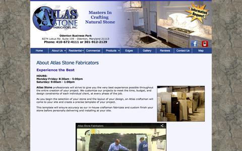 Screenshot of About Page atlasstonefabricators.com - About Atlas Stone Fabricators | Custom Marble and Granite Countertop design and installation for home or business including kitchens, bathroom, fireplaces, bath surrounds Maryland, Washington DC, Northern Virginia - captured June 22, 2016