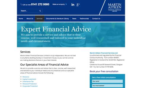 Screenshot of Services Page mafsltd.co.uk - Financial Planning Services Glasgow | Areas of Financial Advice | Martin Aitken - captured Oct. 3, 2014