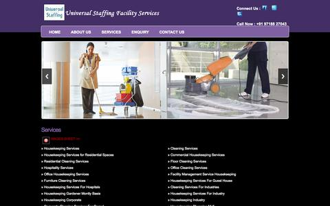Screenshot of Services Page universalstaffing.in - Universal Staffing Facility | Manpower Outsourcing | Pantry Services | Housekeeping Services | Building Maintenance Services - captured Oct. 9, 2014