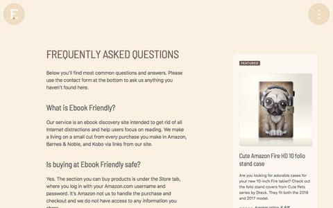 Screenshot of FAQ Page ebookfriendly.com - Frequently asked questions - captured Jan. 17, 2020