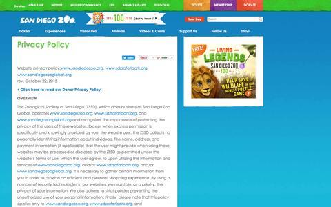 Screenshot of Privacy Page sandiegozoo.org - Privacy Policy | San Diego Zoo - captured Nov. 19, 2016