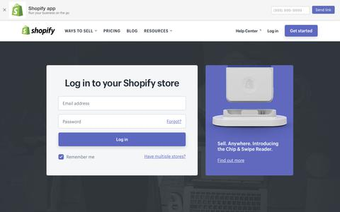 Screenshot of Login Page shopify.com - Login — Shopify - captured July 11, 2018