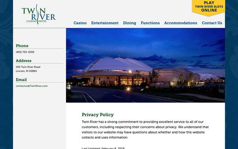 Screenshot of Terms Page twinriver.com - Terms of Use - Twin River Casino Hotel - captured May 31, 2019