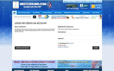 Screenshot of Login Page mistcooling.com - Customer Login - captured Oct. 26, 2014