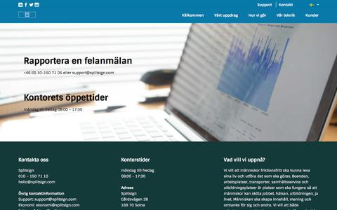 Screenshot of FAQ Page Support Page splitsign.com - SplitsignSupport- felanmälan - Splitsign - captured Nov. 14, 2017