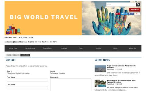 Screenshot of Contact Page bigworldtravel.ca - Contact Us | BIG WORLD TRAVEL - captured Nov. 13, 2018