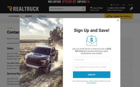 Screenshot of Contact Page realtruck.com - Contact Us       | RealTruck - captured Jan. 6, 2020