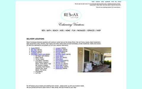 Screenshot of Locations Page relaxconcierge.com - NJ Linen Baby Beach Gear Rental LBI Ocean City Avalon Stone Harbor Brigantine - captured Oct. 26, 2014