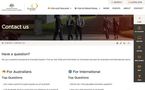 Screenshot of Contact Page austrade.gov.au - Contact us - Austrade - Submit enquiries and feedback online  - Austrade - captured July 23, 2019