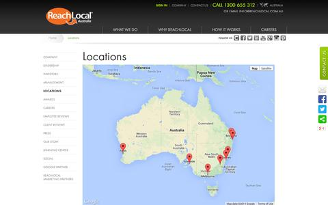 Screenshot of Locations Page reachlocal.com.au - Locations | ReachLocal Australia - captured Oct. 9, 2014