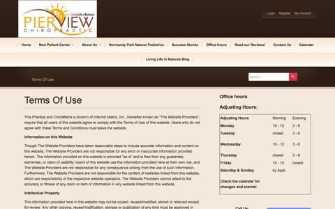 Screenshot of Terms Page pierviewchiropractic.com - Pier View Chiropractic, PS - Your Local Wellness Expert In Normandy Park, WA USA :: Terms Of Use - captured Oct. 2, 2014