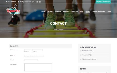 Screenshot of Contact Page bostonsportsmed.com - Contact | Boston Sports Medicine - captured April 28, 2017