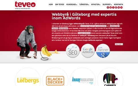 Screenshot of Home Page Support Page teveo.se - Webbyrå i Göteborg med expertis inom AdWords - Teveo - captured Sept. 30, 2014