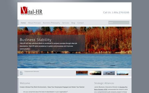 Screenshot of Home Page vital-hr.net - Vital HR, Work and Reward Effectiveness _ Vancouver, BC, CANADA - captured Oct. 9, 2014