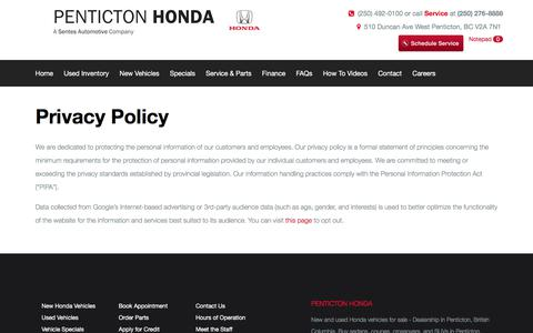 Screenshot of Privacy Page pentictonhonda.com - Privacy Policy - Penticton Honda, BC - captured July 16, 2018