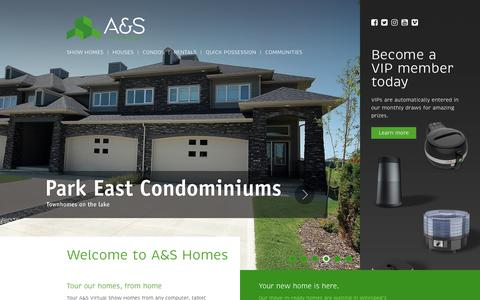 Screenshot of Home Page ashomes.ca - Winnipeg Home Builders | A&S Homes - captured July 27, 2018