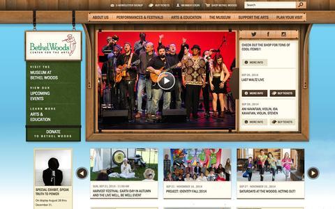 Screenshot of Home Page bethelwoodscenter.org - Bethel Woods Center for the Arts :: Home - captured Sept. 22, 2014