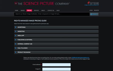 Screenshot of Pricing Page sciencepicturecompany.com - Pricing Guide - The Science Picture Company - captured Oct. 9, 2014