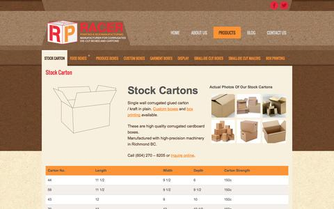 Screenshot of Products Page racerboxes.com - Stock Cartons Vancouver, Custom Printed Cartons Vancouver, Wholesale Cardboard Boxes Vancouver BC | Racer Boxes - Box Manufacturing and Printing - captured Oct. 27, 2014