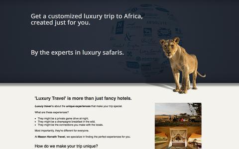 Screenshot of Landing Page masonhorvath.com - Luxury Safaris in Africa - captured May 25, 2016