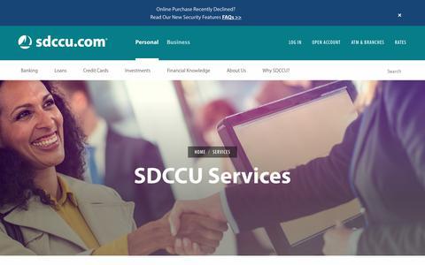 Screenshot of Services Page sdccu.com - SDCCU Services - captured Sept. 22, 2018