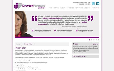 Screenshot of Privacy Page draytonpartners.com - Drayton Partners - Privacy Policy - captured Oct. 5, 2014
